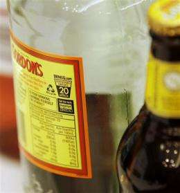 Australia puts health warnings on booze bottles (AP)