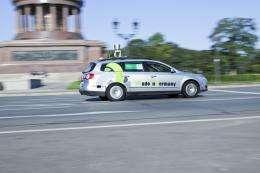 Autonomous car navigates the streets of Berlin