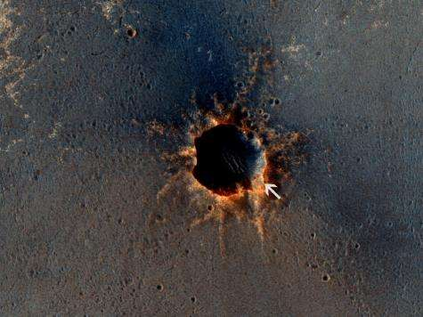 Color View from Orbit Shows Mars Rover Beside Crater