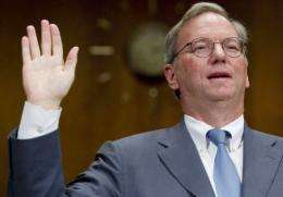 Eric Schmidt, Chairman of Google, is sworn in before giving testimony