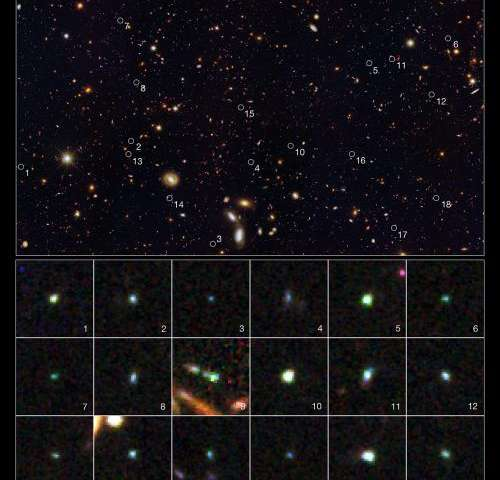 Hubble uncovers tiny galaxies bursting with starbirth in early Universe