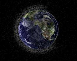 Illustration of swarms of space debris in Low Earth Orbit (LEO)