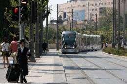 Jerusalem's light rail system on its first day of operation today
