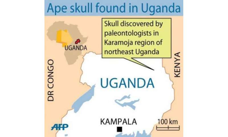Map of Uganda showing the remote northeast Karamoja region where the ape skull was found