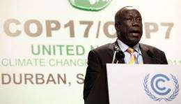 Minister of Environment for South Sudan Alfred Lado Gore speaks in Durban