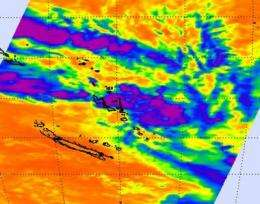 NASA infrared satellite data sees system 96P developing tropically near Vanuatu