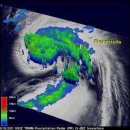 NASA sees power within hurricane Maria as it heads for a landfall in Newfoundland