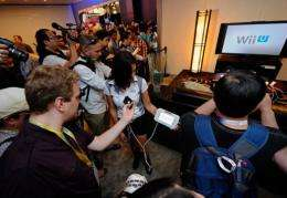Nintendo displays the new game console Wii U at the Nintendo booth during the Electronic Entertainment Expo