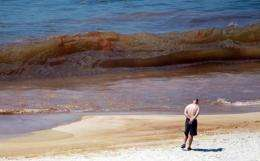 Oil from the Deepwater Horizon oil spill, can be seen in the water on Orange Beach, Alabama, in 2010.