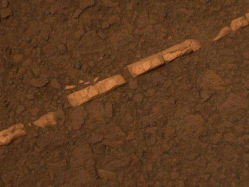 Opportunity rover finds mineral vein deposited by water
