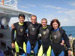 R-L: Shannon Walker, Steve Squyres, David Saint-Jacques and Takuya Onishi