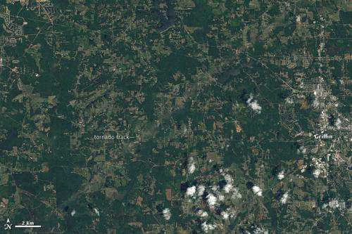 Satellites Reveal Tornado Tracks in Georgia, Mississippi and Alabama