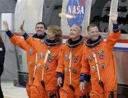 Shuttle program's final 4 astronauts riding high (AP)