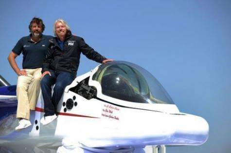 "Sir Richard Branson (R) and explorer Chris Welsh announced plans to pilot a ""flying"" mini-submarine"