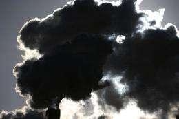 Somke raises above Paris from an incinerator in Ivry-sur-Seine in 2009