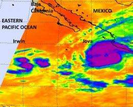 Spotty, strong convection seen in NASA imagery helps Irwin regain tropical storm status