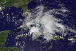 Stretched-out low soaking the Caribbean in GOES-13 satellite imagery