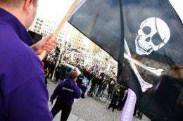 Supporters of the web site The Pirate Bay