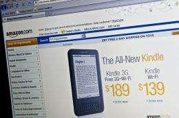 The Amazon homepage is seen in Washington
