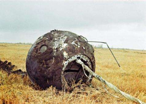 The capsule in which Yuri Gagarin hurtled back towards earth until he parachuted to safety