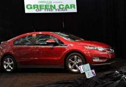 """The Chevrolet Volt is shown after being named """"Green Car of the Year"""" at the LA Auto Show in 2010"""