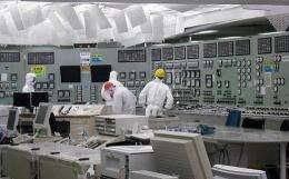 The control room of the second reactor of TEPCO's Fukushima No.1 nuclear power plant