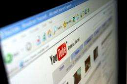 The homepage of video-sharing website YouTube