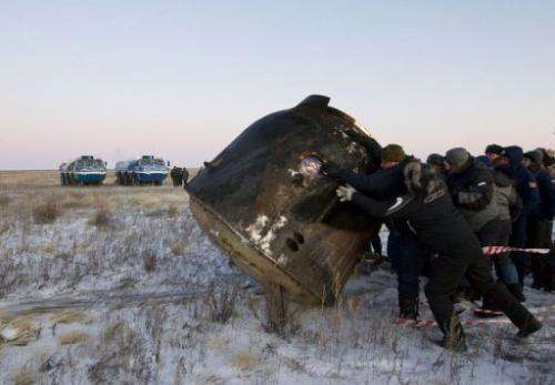 The landing of the Soyuz capsule was on time and on target at 0226 GMT