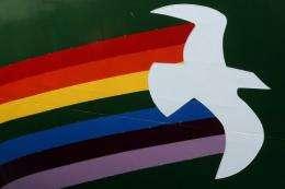 "The logo of Greenpeace's ""Rainbow Warrior III"" sailing ship"