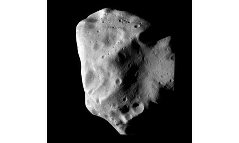 The Lutetia asteroid is seen at closest approach from the Rosetta spacecraft