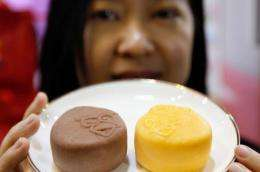 The mooncakes come in two flavours -- chocolate, and mango and pomelo