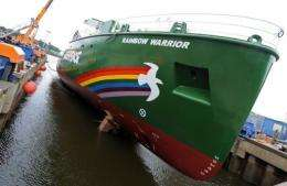 "The new ""Rainbow Warrior III"" sailing ship is lowered into the water at the Fassmer shipyard in Berne-Motzen"