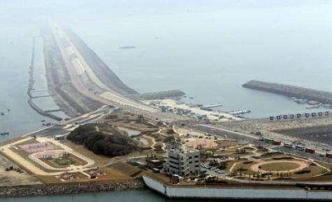This bird eye view taken in 2010 shows the 33.9 kilometer Saemangeum seawall in Gunsan