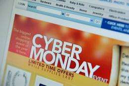 "US shoppers were on pace to drive ""Cyber Monday"" sales to a new record high"