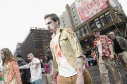 "A group of Zombies take to the streets for a ""zombie blood drive"""