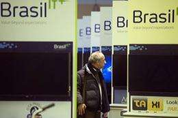 A man walks through the Brazil exhibition prior to the opening of the CeBIT IT fair in March 2012 in Hanover
