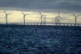 An offshore windmill farm in Denmark