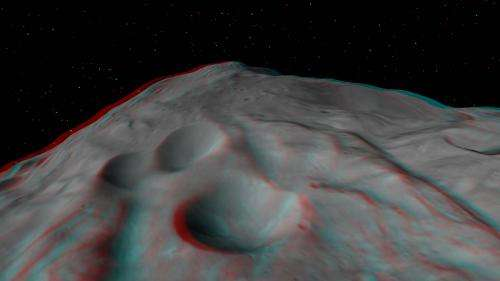 Asteroid Vesta floats in space in high resolution 3-D