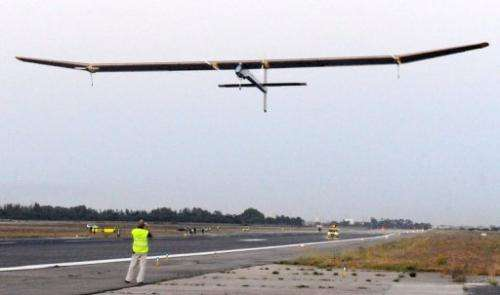 Bertrand Piccard piloted Solar Impulse on the 17-hour flight from Rabat in Morocco to Madrid's main airport