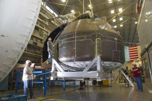 Composite crew module encounters space vacuum