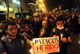 Conservationists protest against the project to build several hydroelectric power stations in the Chilean Patagonia