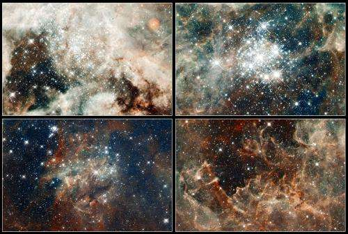 Hubble's panoramic view of a turbulent star-making region