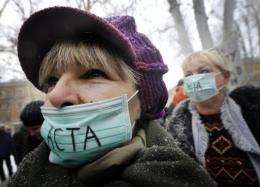 Protesters demonstrate against controversial Anti-Counterfeiting Trade Agreement (ACTA) in February