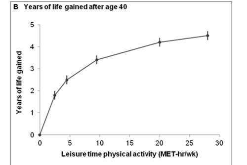 Researchers quantify how many years of life are gained by being physically active