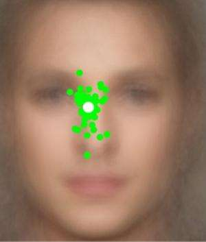 To get the best look at a person's face, look just below the eyes, according to UCSB researchers