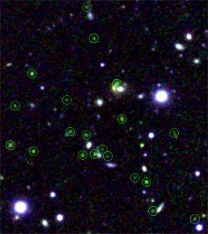 Discovery of an ancient celestial city undergoing rapid growth:  A young protocluster of active star-forming galaxies