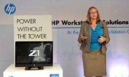 Hewlett Packard's Anneliese Olson speaks at a press conference for the launch of the HP Z1 work station