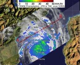 Major Tropical Cyclone Funso analyzed by two NASA satellites