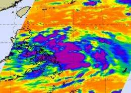 NASA infrared satellite imagery shows Tropical Storm Mawar strengthening