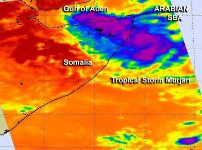 NASA saw Tropical Storm Murjan making landfall on the Horn of Africa